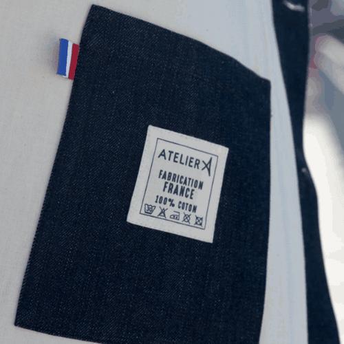 Poche d'une veste ATELIER A fabriquée en France