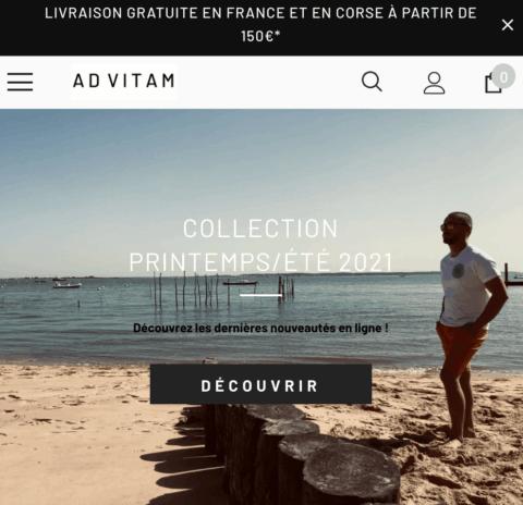 Page d'accueil du site e-commerce de la boutique AD VITAM